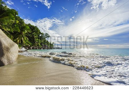 Paradise Tropical Beach With Rocks,palm Trees And Turquoise Water In Sunshine, Seychelles 9