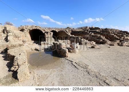 Caesarea Is An Ancient Settlement On The Mediterranean Coast Of Israel.