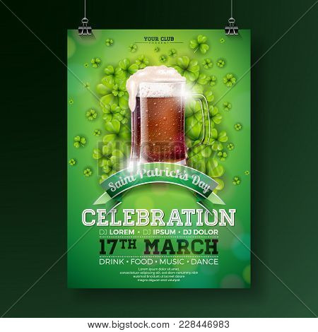 Saint Patrick's Day Party Flyer Illustration With Fresh Dark Beer And Clover On Green Background. Ve