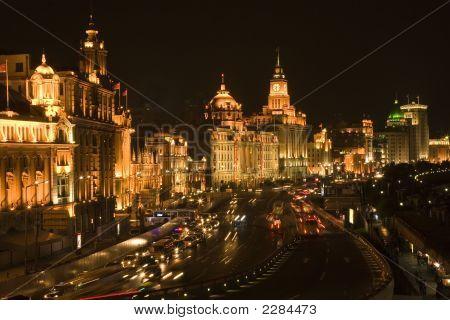 Shanghai Bund Old Town At Night Skyline