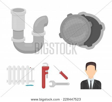 Sewage Hatch, Tool, Radiator.plumbing Set Collection Icons In Cartoon Style Vector Symbol Stock Illu
