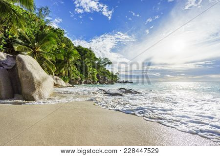 Paradise Tropical Beach With Rocks,palm Trees And Turquoise Water In Sunshine, Seychelles 13
