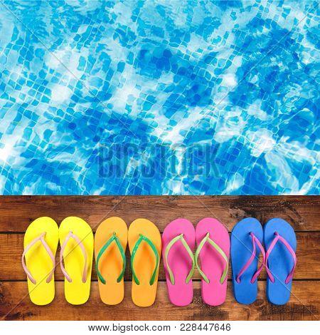 Blue Deck Flops Decking Flip Flops Background Photography