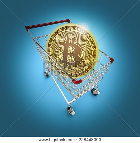 Shopping Cart With A Cryptocurrency Coin, Concept Of Online Commerce (3d Render)