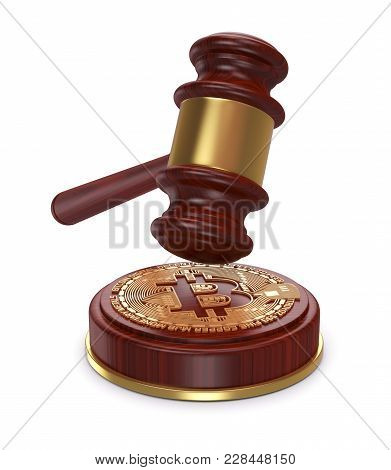 Cryptocurrency Symbol With A Gavel, Using Virtual Money For Auctions Or Cryptocurrency And Law (3d R
