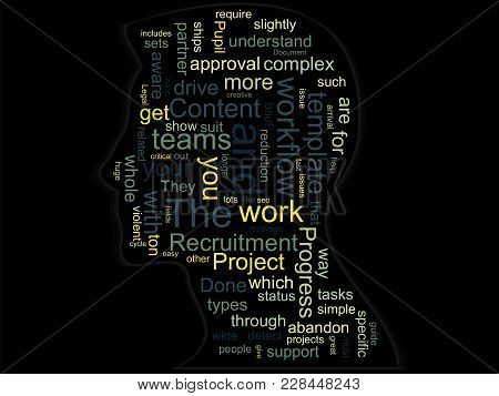 Silhouette Of A Head With Words On A Business Topic Inside. Abstract Conceptual Vector Illustration
