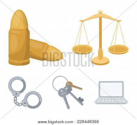 Scales Of Justice, Cartridges, A Bunch Of Keys, Handcuffs.prison Set Collection Icons In Cartoon Sty