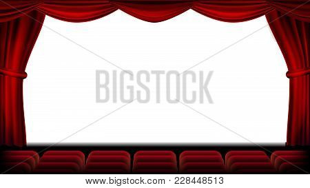 Auditorium With Seating Vector. Red Curtain. Theater, Cinema Screen And Seats. Stage And Chairs. Ill