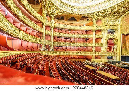 Paris, France, May 17: Unidentified Group Of Tourists Visit The Interior Of Opera De Paris, Palais G