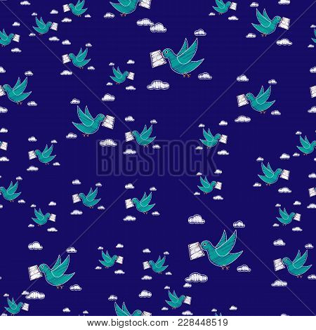 Dove Carrying Envelope Pattern Repeat Seamless In Blue Color For Any Design. Bird Delivers A Message