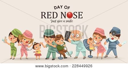 Set Red Nose Day Greeting Card, Medical Doctor In Hospital With Stethoscope Helping Little Patient W