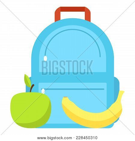 Backpack And Lunch Icon. Flat Illustration Of Backpack And Lunch Icon For Web
