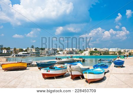 Otranto, Italy - April 11, 2010:: Fishermen Boats In The Great Harbor Of The Town