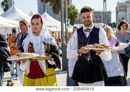Cagliari, Italy - October 28, 2017: Invitas, Sardinia Of Traditions, Performances And Food, At The M