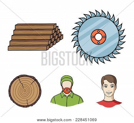Circular Saw, A Working Carpenter, A Stack Of Logs. A Sawmill And Timber Set Collection Icons In Car