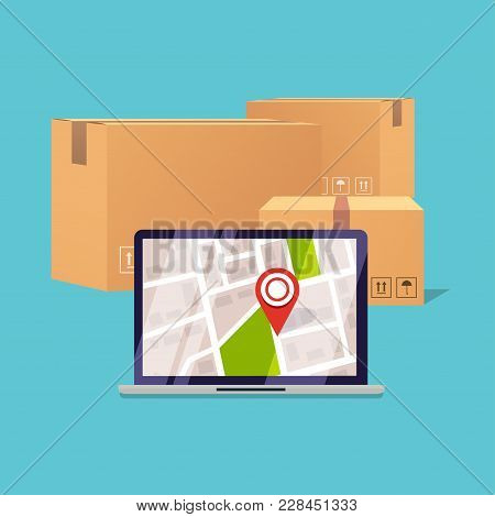 Delivery Tracking On A Computer. Pile Of Stacked Sealed Goods Cardboard Boxes. Flat Design Modern Ve