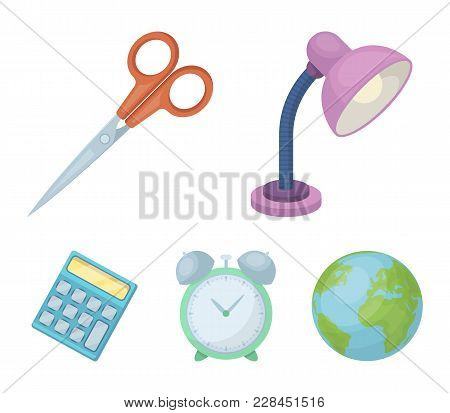 Table Lamp, Scissors, Alarm Clock, Calculator. School And Education Set Collection Icons In Cartoon