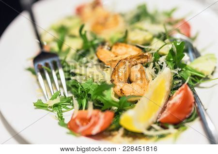 Plate With Mixed Shrimps Salat. Dish With  Prawns , Arugula, Tomato And Cheese.  Delicious Healthy M