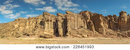 Panoramic View On Unique Stone Formation - Pillars Of The Solomon King In Timna Geological Park That