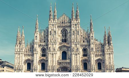 Milan Cathedral (duomo Di Milano), Italy. Milan Cathedral Is The Fifth Largest In The World. Panoram