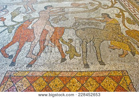 Otranto, Italy - April 11, 2010: The Floor Full Of Mosaics In The Interior Of The Cathedral