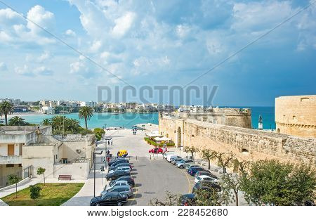 Otranto, Italy - April 11, 2010: View Of The Old Town Over The Bay With The Alfonsina Tower On The R