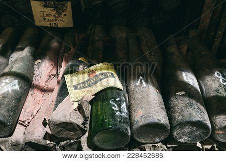 Bottles Of Wine In The Cellar