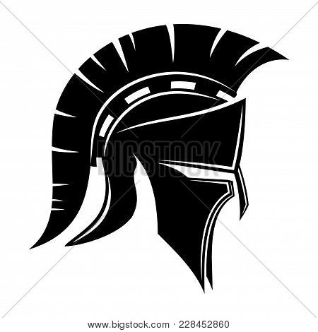 Spartan Helmet Sign On A White Background.