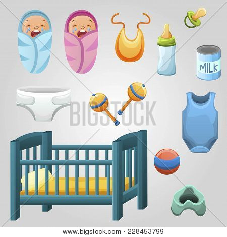Set Of Kid Stuff, Food And Toys. Newborns. Baby Food, Bottle And Dry Milk Can And A Dummy. Baby Clot