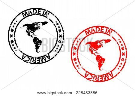 Made In America - Rubber Stamp - Vector - America Continent Map Pattern - Black And Red