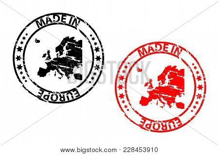 Made In Europe - Rubber Stamp - Vector - Europe Continent Map Pattern - Black And Red
