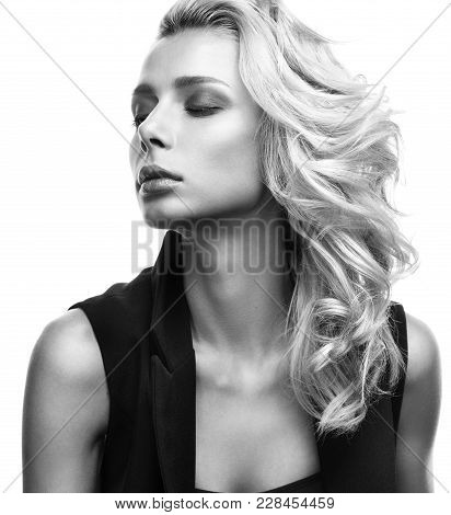 Sensual Black And White Portrait Of Beautiful Young Woman Isolated On White Background. Pose With Yo