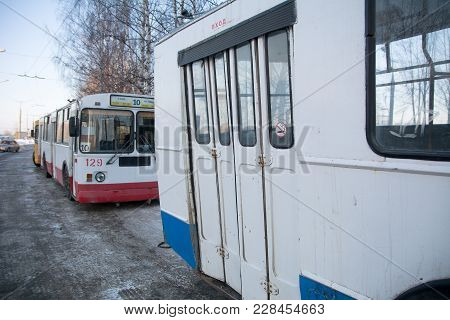 Yoshkar-ola, Russia - February 15, 2018 Photo Ziu-682 Is A Soviet Russian High-floor Trolley Bus Of