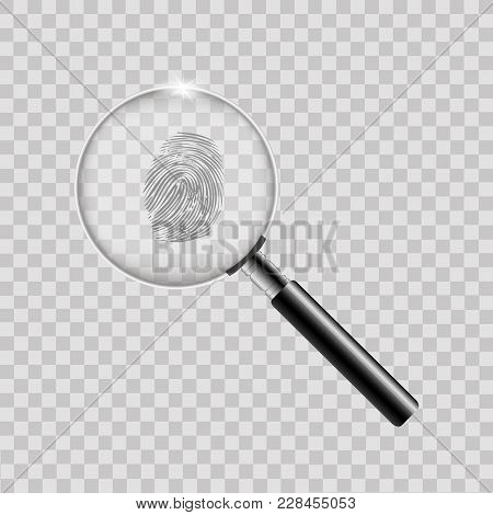 Magnifier With Finger Print On Transparent Background. Vector