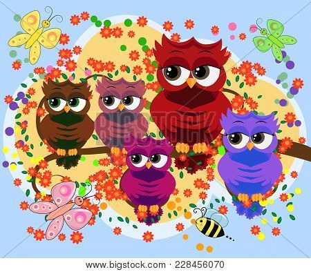 A Family Of Colorful, Bright, Lovely Cartoon Owls On The Branches Of Flowering Trees. Moms, Dads, Ch