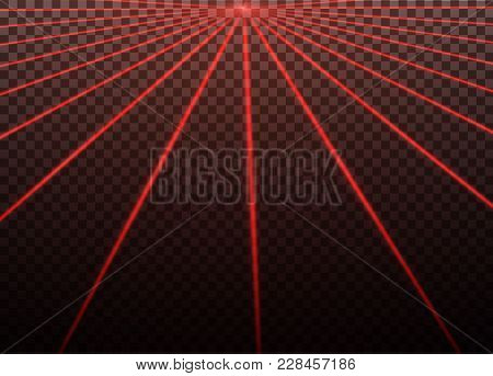 Abstract Red Laser Beam. Transparent Isolated On Black Background. Vector Illustration.the Lighting