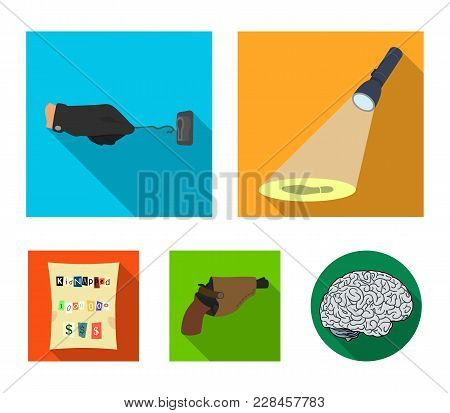 The Detective's Flashlight Illuminates The Footprint, The Criminal's Hand With The Master Key, A Pis