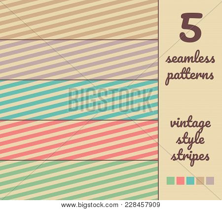 5 Seamless Abstract Vector Stripe Patterns In Vintage Color Style