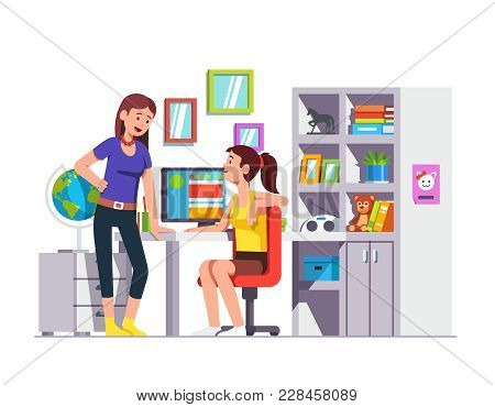 Two High School Student Friends Talking, Doing Homework Together At Kids Room. Teen Girl Sitting At