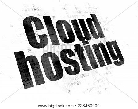 Cloud Technology Concept: Pixelated Black Text Cloud Hosting On Digital Background