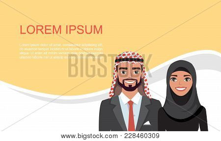 Arab Business Card. Design Material. Banner With Arab Business People. Visit Card