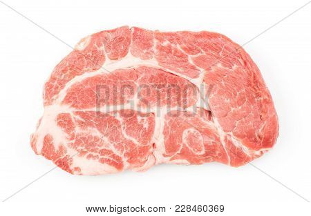 Raw Pork Neck Meat Cut Top View Isolated On White Background Fresh One Slice Without Bone