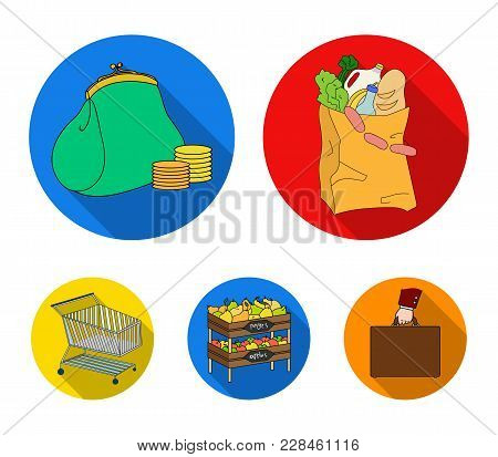 Sausages, Fruit, Cart .supermarket Set Collection Icons In Flat Style Vector Symbol Stock Illustrati