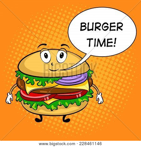 Burger Sandwich Cartoon Character Pop Art Retro Vector Illustration. Cartoon Food Character. Text Bu