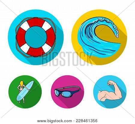 Oncoming Wave, Life Ring, Goggles, Girl Surfing. Surfing Set Collection Icons In Flat Style Vector S