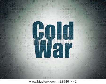 Political Concept: Painted Blue Word Cold War On Digital Data Paper Background