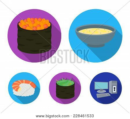 Bowl Of Soup, Caviar, Shrimp With Rice. Sushi Set Collection Icons In Flat Style Vector Symbol Stock