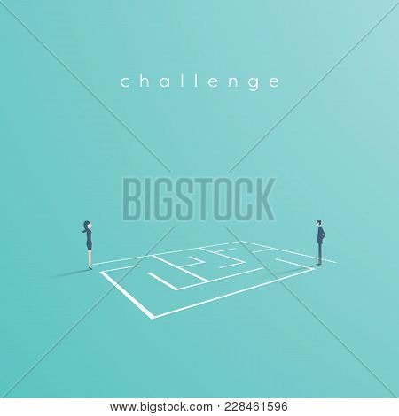 Business Solution And Challenge Vector Concept. Businesswoman And Businessman Standing Next To A Maz