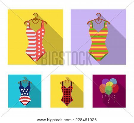 Different Kinds Of Swimsuits. Swimsuits Set Collection Icons In Flat Style Vector Symbol Stock Illus