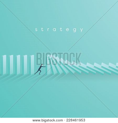 Businessman Stopping Falling Domino Vector Concept. Symbol Of Crisis, Risk, Management, Leadership A